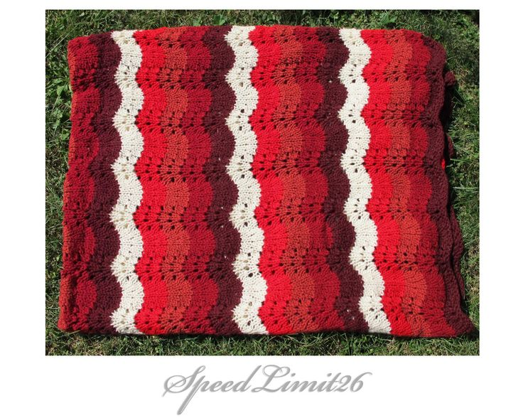 Throw Blanket Knitted blanket handmade blanket - Chunky & Super warm and soft - Autumn Red  Purple and White Blanket