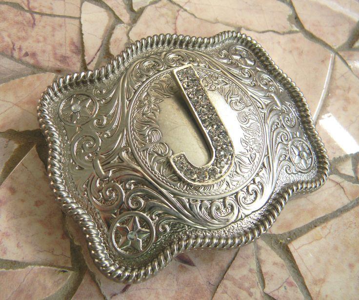 Monogram Letter J Personalized Silver Belt Buckle, Rhinestone Initial J Monogrammed Womens Mens Kids Western Belt Buckle, Custom Belt Buckle by StepOriginals on Etsy https://www.etsy.com/listing/182769601/monogram-letter-j-personalized-silver