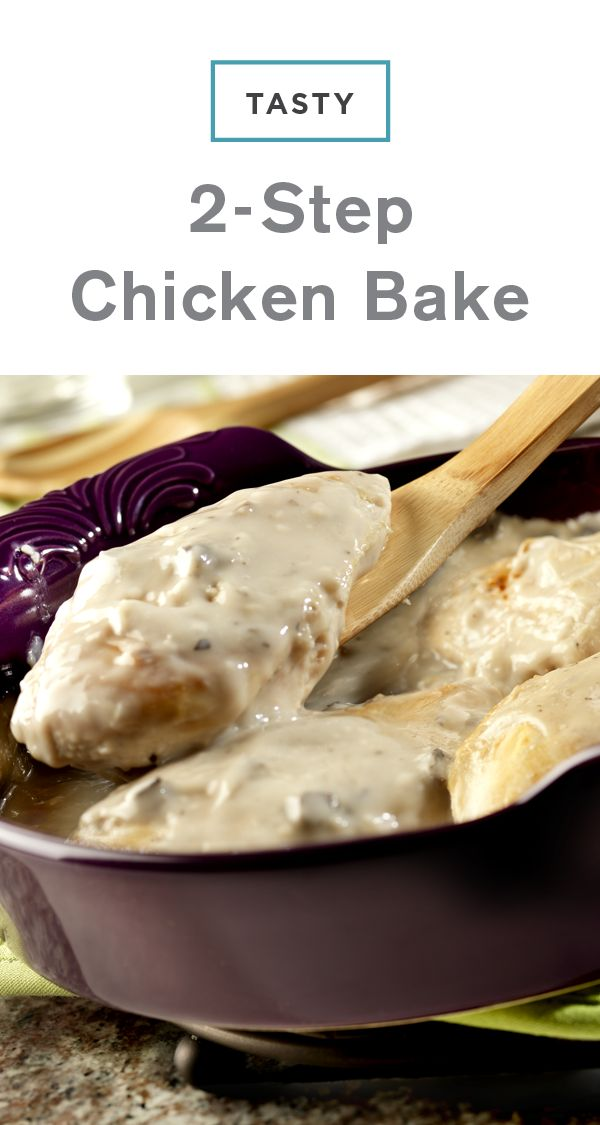 No one will guess this creamy mushroom chicken recipe only took 5 minutes to prepare for the oven—which makes this Tasty 2-Step Chicken Bake a great dish for busy weeknights.
