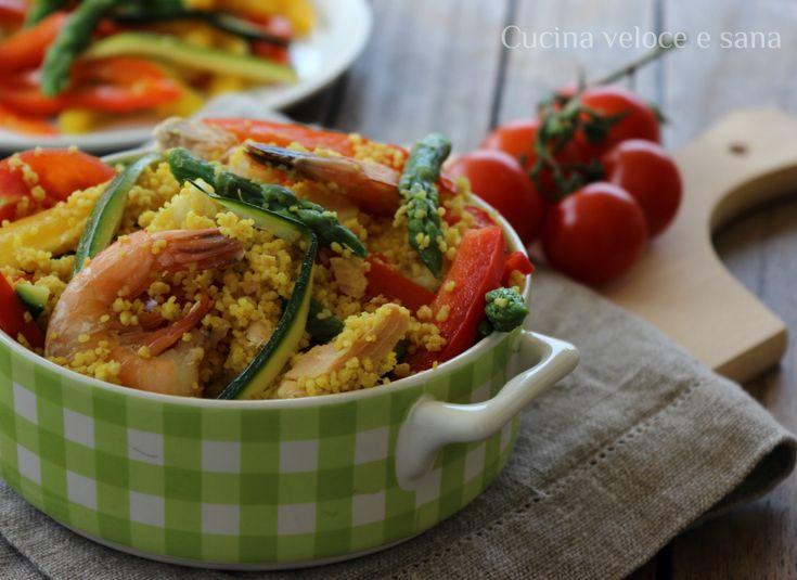 Couscous con pesce e verdure al vapore