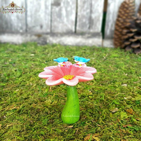 Fairy Garden Birdbath – Pink Flower Miniature Bird Bath for Outdoor Fairy Garden Accessories Mini Garden Birds Fairy Accessories – Products