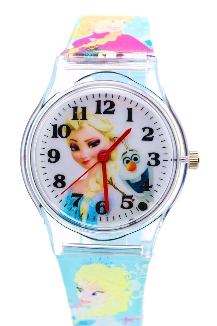 """Disney Frozen Watch For Kids. Analog Display. Adjustable Band 9""""L. DISNEY LICENSED MERCHANDISE. JAPAN QUARTZ MOVEMENT, ANALOG DISPLAY. MATERIAL: CASE - PLASTIC ; STAINLESS STEEL WATCH BACK. WITHSTANDS RAIN AND SPLASHES OF WATER BUT NOT SHOWERING OR SUBMERSION."""