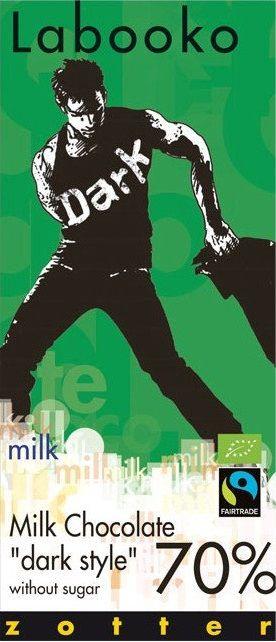 Labooko Milk Chocolate Dark Style 70%... Σοκολάτα γάλακτος με 70% κακάο χωρίς ζάχαρη. Απαλό άρωμα κακάο. Η πικρή γεύση του απαλύνεται από την γεύση του γάλακτος. Κρεμώδης υφή από το βούτυρο κακάο όταν λιώνει στο στόμα. Αφήνει απαλή καβουρδιστή γεύση με ελαφριά γλυκύτητα γάλακτος. Μια διαφορετική μαύρη σοκολάτα που εντυπωσιάζει τους λάτρεις του είδους!