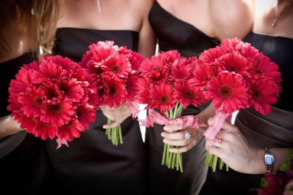 Deep pink daisy bridesmaid wedding bouquet, photo by J Garner Photography