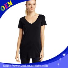 high quality cotton jersey tee shirt rounded bottom deep v neck women extended tall t shirt  best seller follow this link http://shopingayo.space