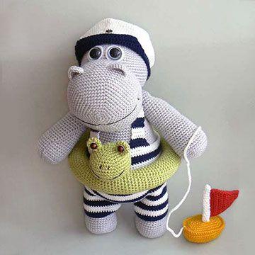 Henry the Hippo amigurumi crochet pattern by Kamlin Patterns