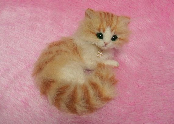 Needle Felted Cute Fluffy Kitten Miniature by LilyNeedleFelting, ¥40000