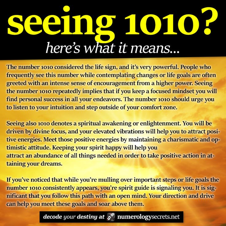 Seeing 1010? Learn more at: http://numerologysecrets.net/angel-number-1010/