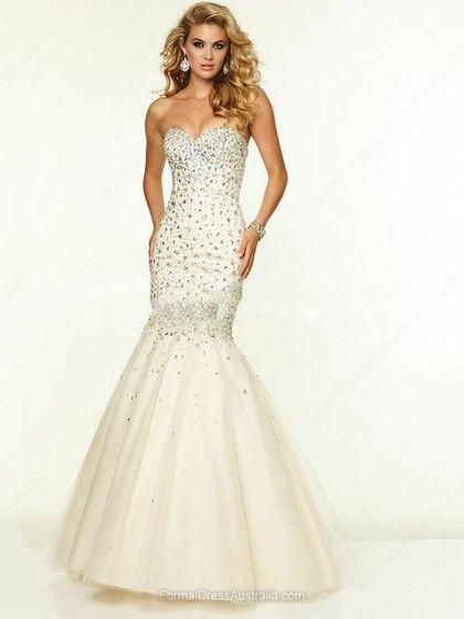 Trumpet/Mermaid Tulle Sweetheart Beading Floor-length Formal Dresses -AU$240.29