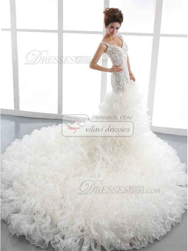 100% Tailor-Made Mermaid Straps Court Train Tulle Ruffle Wedding Dresses With Beading And Sequin Free?Shipping Price: US $ 619 - VILAVI Dresses http://www.dresses123.com/mermaid-straps-court-train-tulle-ruffle-wedding-dresses-with-beading-and-sequin-p-2675.html