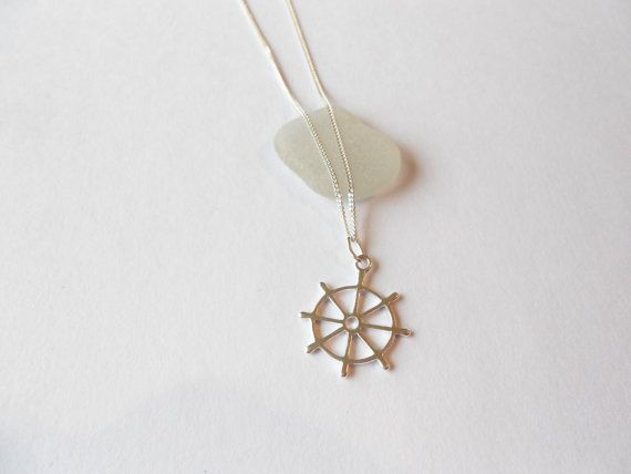 Sterling Silver Ships Wheel Necklacewheel by WhitePebbleJewellery