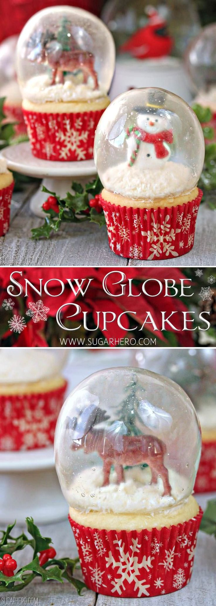 Snow Globe Cupcakes - the BEST Christmas cupcakes! Made with gelatin bubbles, so the entire cupcake is edible! | From SugarHero.com(Creative Baking)