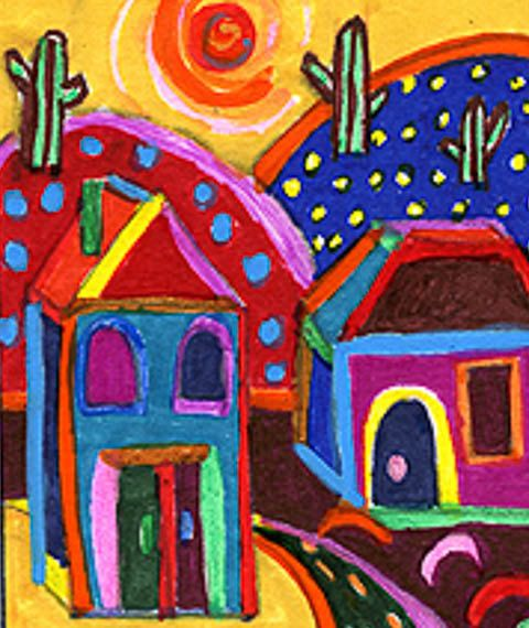 Whimsical Landscape, Funny Houses, Fantasy Art Print, Mexican Folk Art, Kids Room Decor, Hot Summer Town by Paula DiLeo_122613