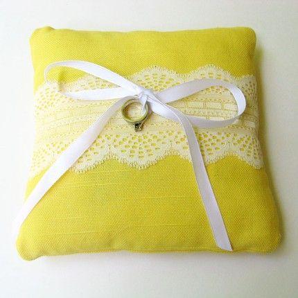 wedding, color, yellow, lemon, ring pillow