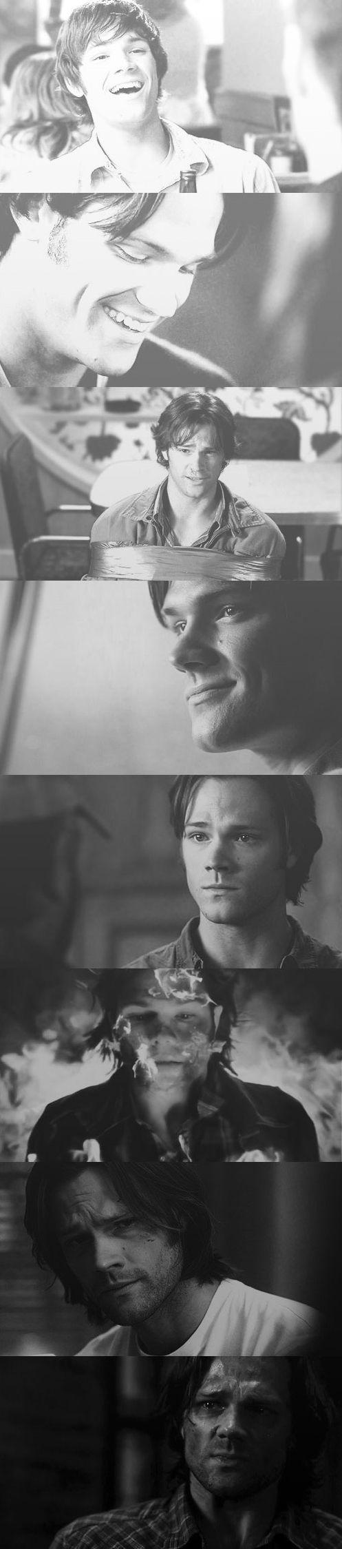 Take a good look at Sam's face in the first picture. Then scroll straight down to the last two. Such a change.