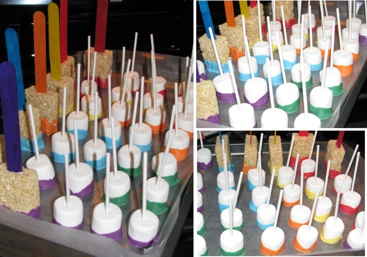 Colourful marshmellows and paintbrushes