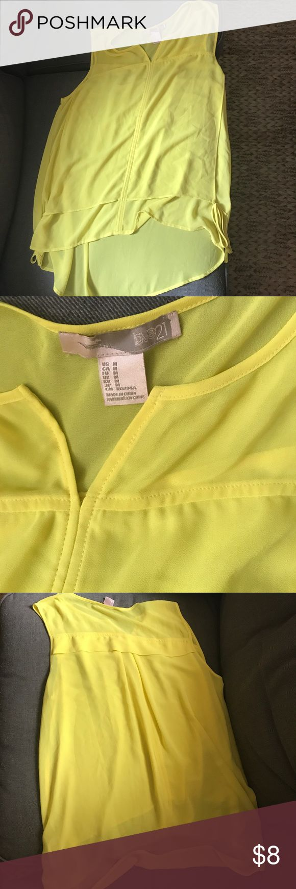 Neon Yellow Top Neon yellow summer top from Forever 21 that is long and flowy, only worn once Forever 21 Tops Blouses
