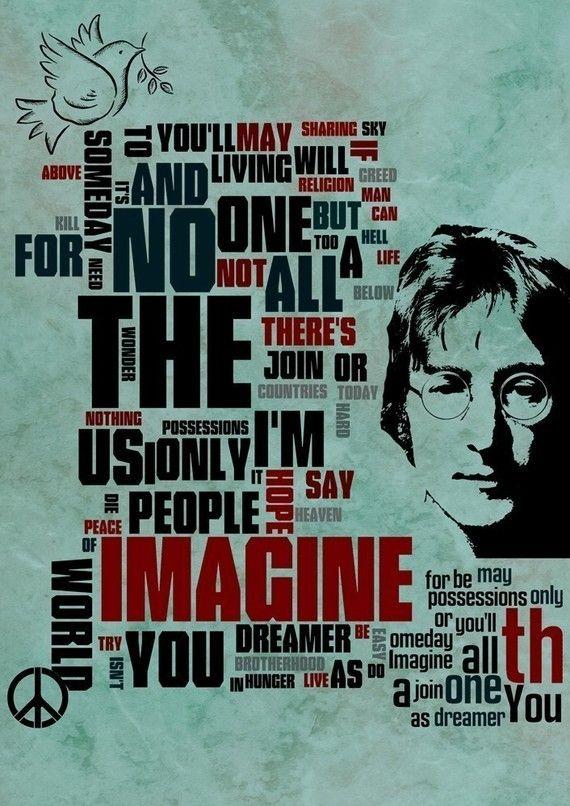 Music Fine art Mixed Media  poster John Lennon  by Artistico, $29.00