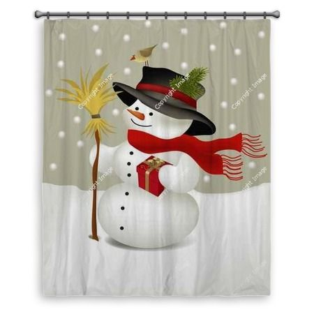 Snowman Large Shower Curtain At