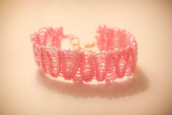 Pink macrame bracelet with beads and gold catch by CrochetGrace