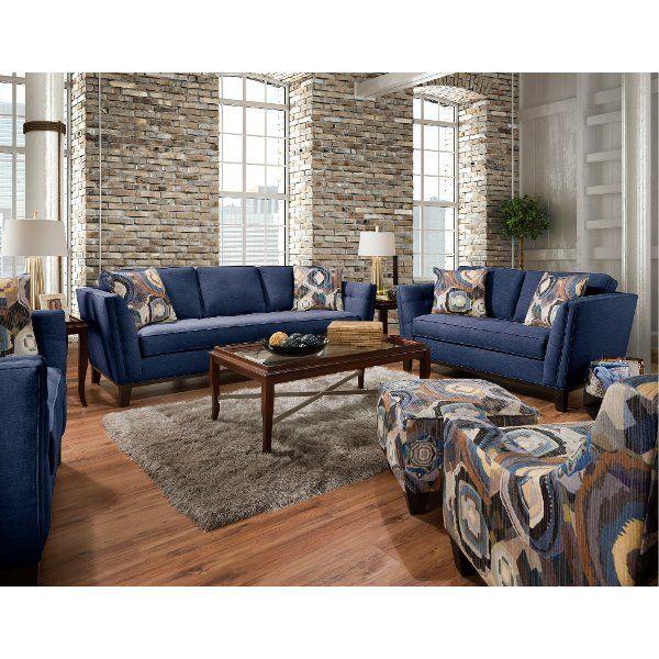 Mid Century Modern Blue 2 Piece Living Room Set Patchquilt