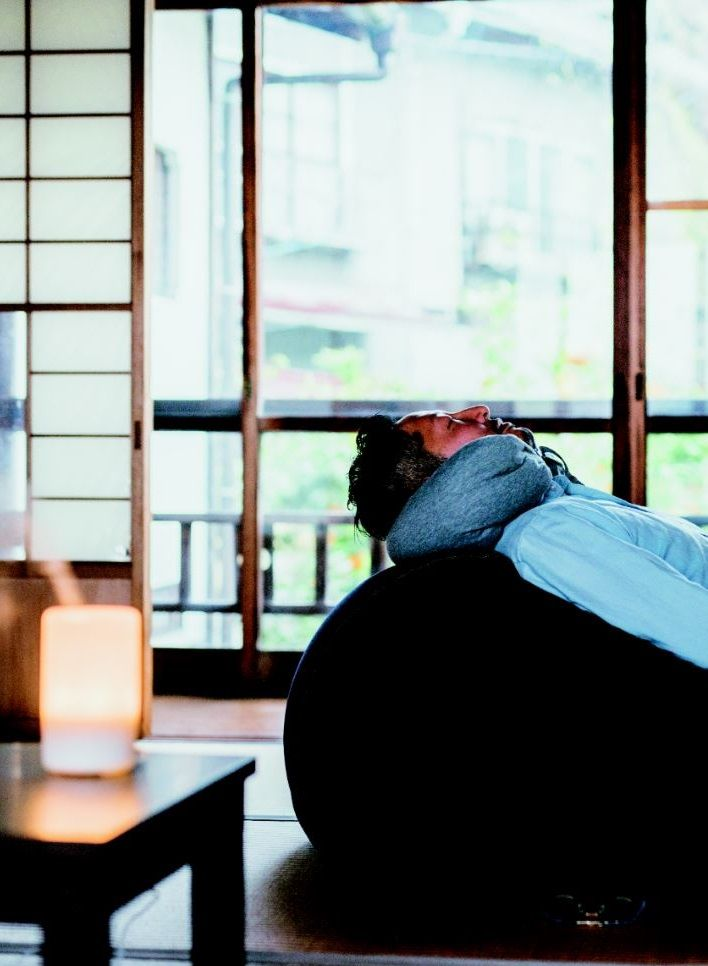 Beads sofa, neck cushion and aroma diffuser: the ultimate MUJI relaxation set.