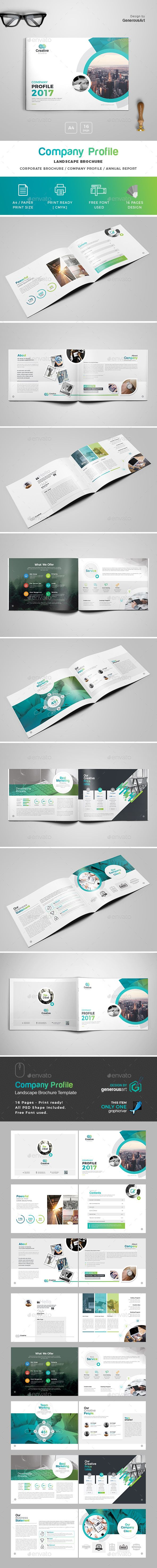 Company Profile Landscape Brochure Template — Photoshop PSD #blue #horizontal