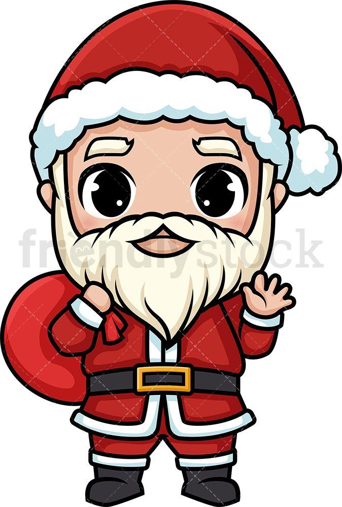 Chibi Kawaii Santa Claus Clipart Cartoon Vector Friendlystock Santa Cartoon Santa Claus Drawing Santa Art
