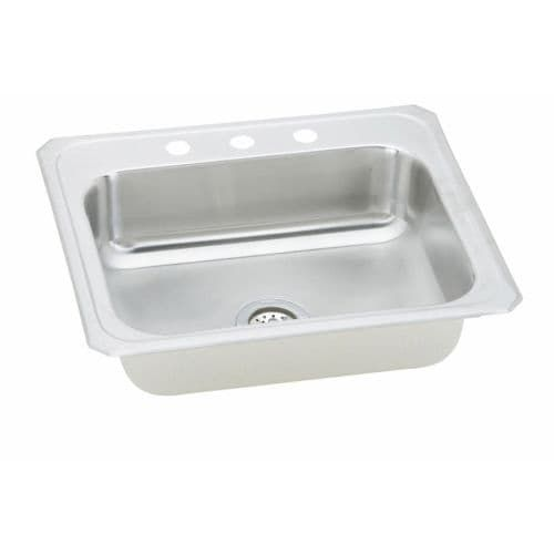 Elkay CR2521 Celebrity 25 Single Basin 20-Gauge Stainless Steel Kitchen Sink for Drop In Installations with SoundGuard (