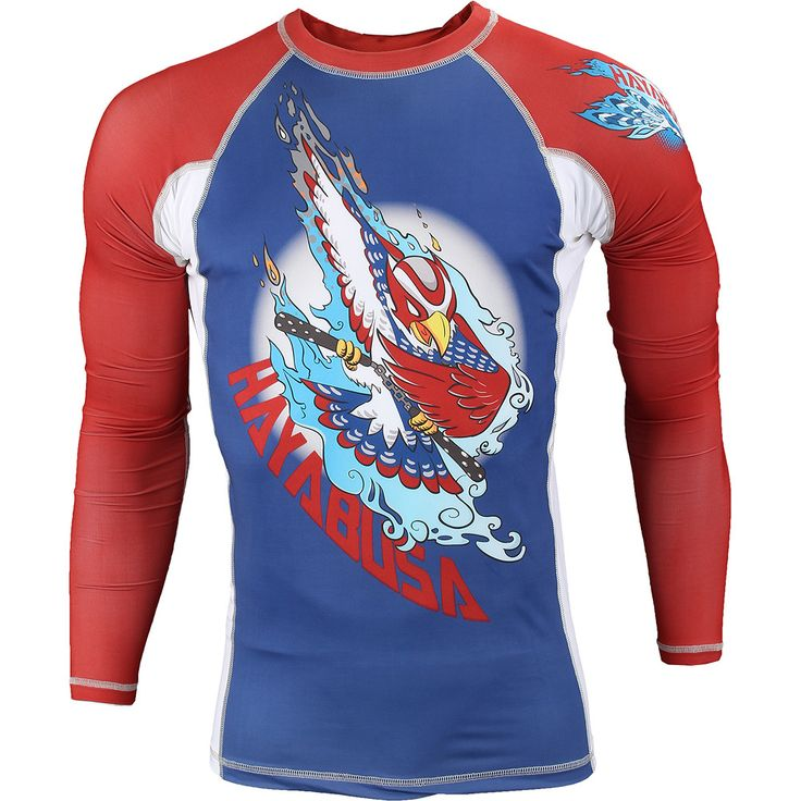 Hayabusa Ninja Falcon Long Sleeve Rashguard - Inspired by the fastest animal in the animal kingdom! The image of the peregrine falcon embodies the speed, strength and power of martial artists! Features high-quality Hayabusa Compression fabric for ultimate comfort and flexibility Developed with flatlock stitching to prevent chafing and fiber-fused graphics for uncompromised durability Designed to guard against cuts, scrapes, rashes and keep your body dry and muscles warm