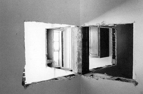Gordon Matta-Clark, Bronx Floors: Four-way wall, 1973