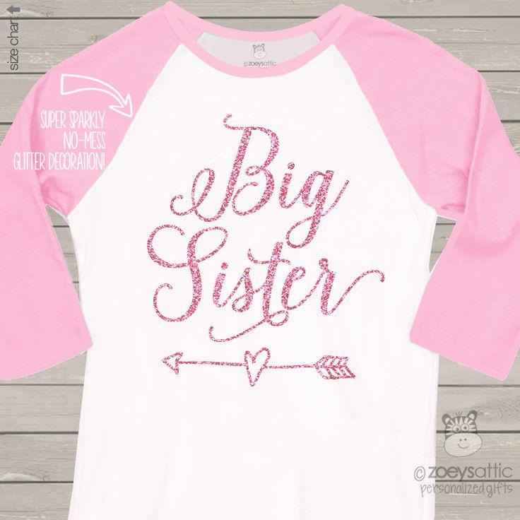 Big sister glitter shirt, sparkle heart and arrow raglan shirt