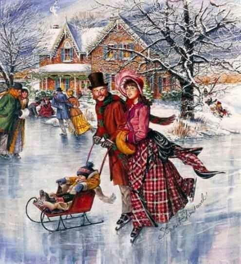 skating .@@@@@.....http://www.pinterest.com/jennifergbrock/vintage-christmas-images-art-illustration-that-evo/