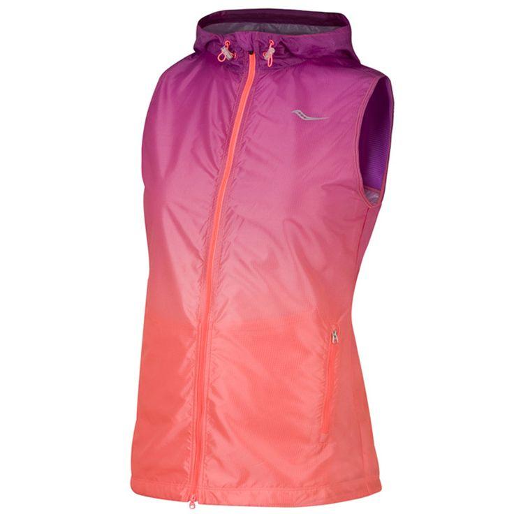 #Saucony vest Fade opvouwbaar paars/roze dames bij #Hardloopaanbiedingen.nl