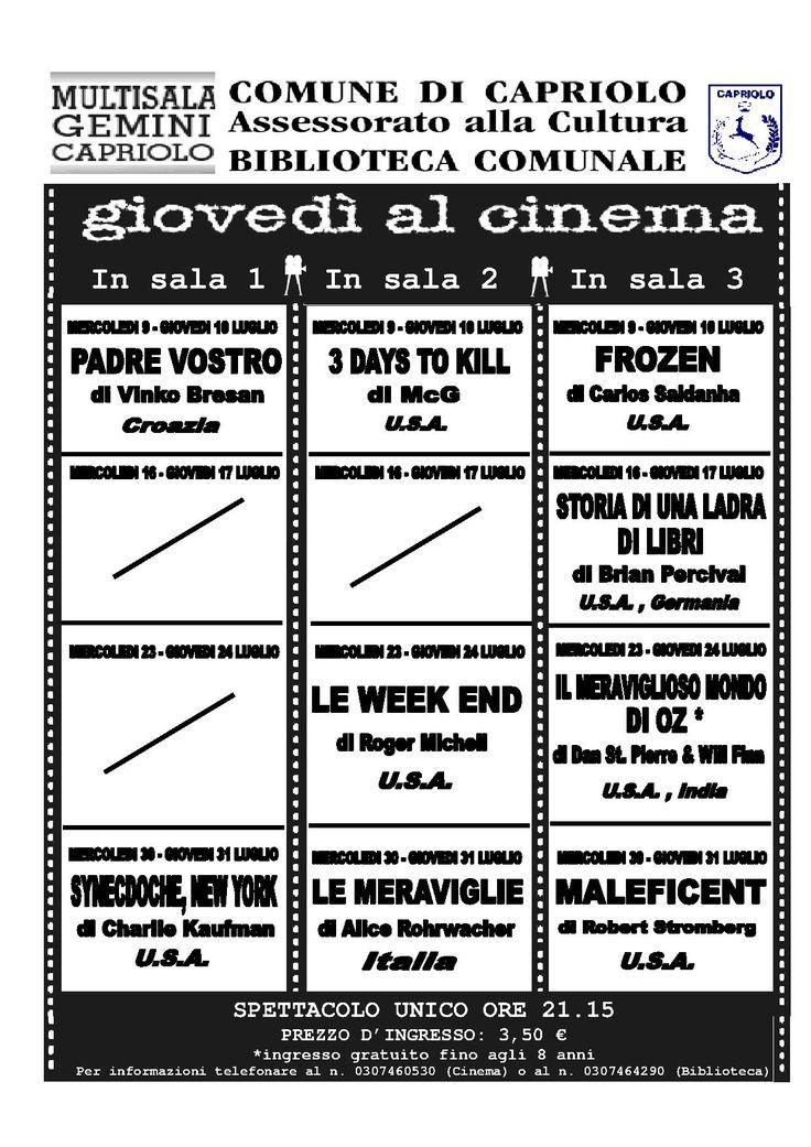 Giovedì al Cinema » Il grande Cinema con la Biblioteca di Capriolo