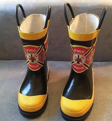 Toddler Fire Rescue Western Chief Rain Boots & Umbrella Set - EUC