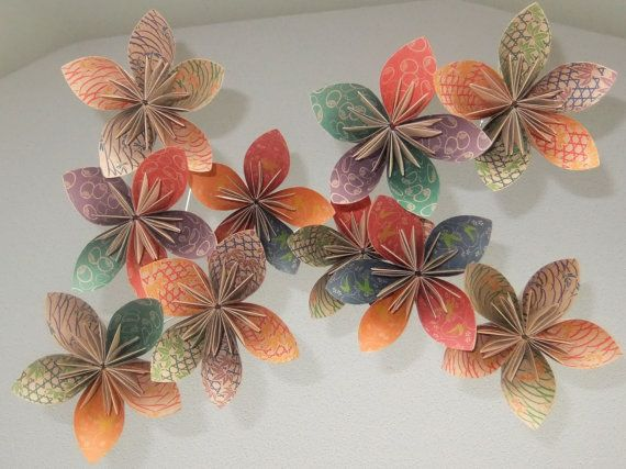 The Natural Origami Flower Mobile by Katiemommy on Etsy, $40.00