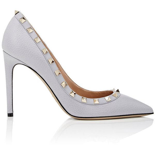 Valentino Women's Rockstud Pumps (€465) ❤ liked on Polyvore featuring shoes, pumps, grey, pointy toe pumps, leather pumps, slip on shoes, valentino pumps and grey pumps