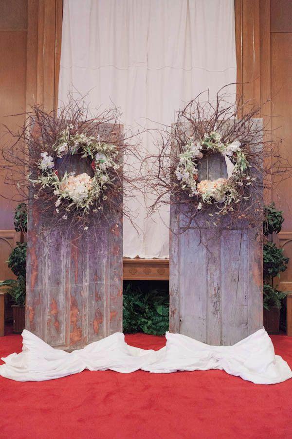 repurposed door ceremony backdrop