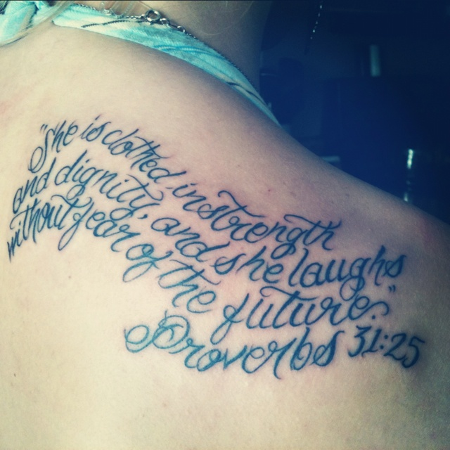 "Rib Tattoo She Is Clothed In Strength And Dignity: My First Tattoo(: ""she Is Clothed In Strength And Dignity"