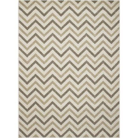 Concord Global Trading New Casa Collections Chevron Area Rug, Beige
