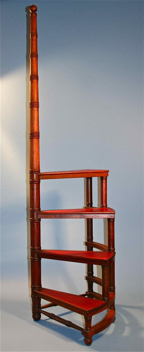 Antique Wooden Movable Library Ladder Stairs By BusaccaGallery 44500