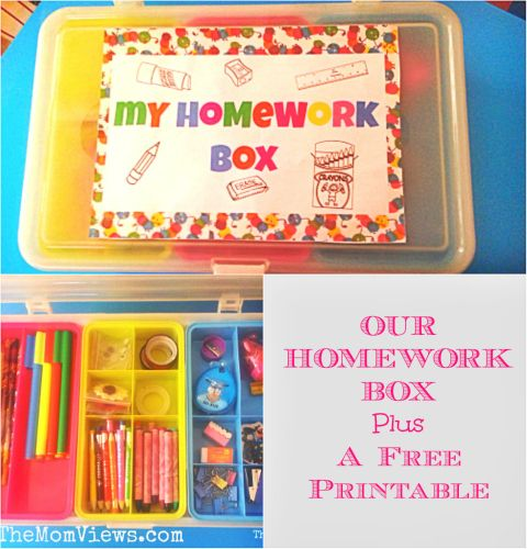 Simplify Kids School Routine With a Homework Box Plus a FREE printable