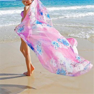 Women Spring Summer Oversized Printing Scarf Sunscreen Chiffon Scarves Shawls Beach Towel at Banggood