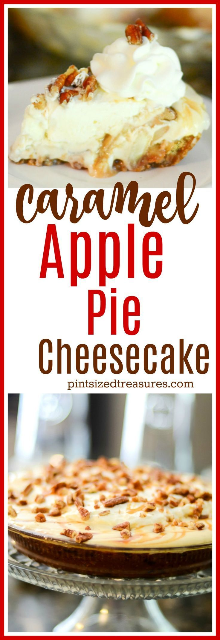 Caramel Apple Pie Cheesecake has an apple cookie crumb crust! Layers of apples and  creamy cheesecake are topped with caramel to create a perfect dessert!