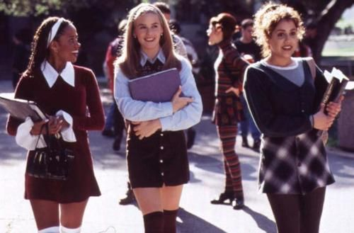 Clueless/ 90's prep/ plaid mini skirts/ button up shirt under a pull over sweater/head band/ knee or thigh high socks