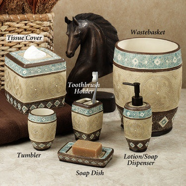 Southwest Theme Blue Brown And Tan Bathroom Accessories