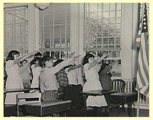 The Bellamy salute is the salute described by Francis Bellamy to accompany the American Pledge of Allegiance, which he had authored.