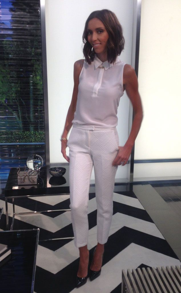 Giuliana sports a trendy (almost) all-white ensemble, wearing a sheer Equipment top, cropped Topshop pants and black Christian Louboutin heels from E! News Look of the Day   E! Online