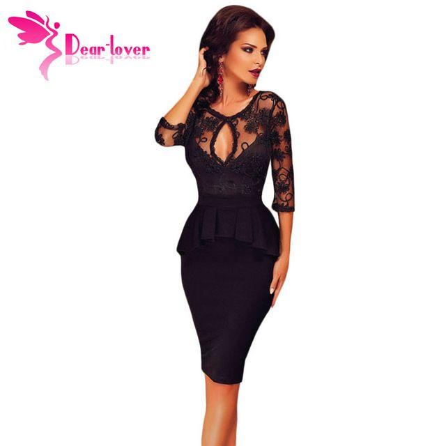 Dear Lover Dörtte Üçü Kollu Nakış Siyah Peplum Midi Elbise Seksi Bayanlar ruffles elbiseler LC60609 ile işlemeli üst
